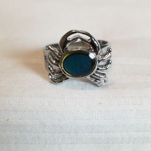 Jewelry - Silver Tone Crab Blue Stone Ring